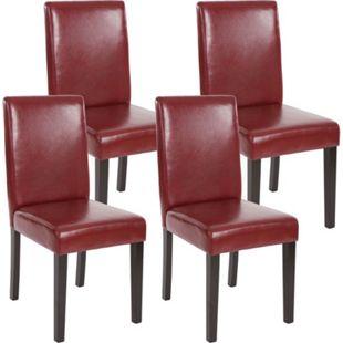 4x Esszimmerstuhl Stuhl Küchenstuhl Littau ~ Kunstleder, rot-braun, dunkle Beine - Bild 1