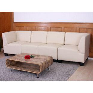 Modular 4-Sitzer Sofa Moncalieri, hohe Armlehnen ~ creme, hohe Armlehnen - Bild 1