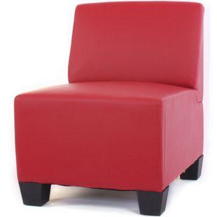 Modular Sessel ohne Armlehnen, Mittelteil Moncalieri, Kunstleder ~ rot - Bild 1