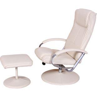 Relaxsessel Siena mit Hocker ~ weiß - Bild 1