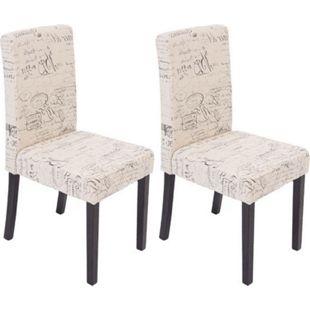 2x Esszimmerstuhl Stuhl Küchenstuhl Littau Textil mit Schriftzug, creme, dunkle Beine - Bild 1