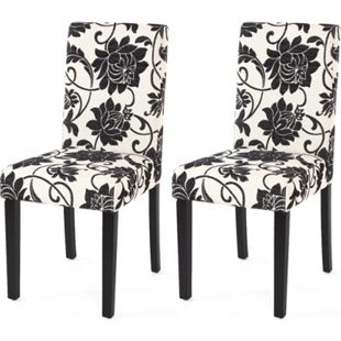 2x Esszimmerstuhl Stuhl Küchenstuhl Littau ~ Textil, jacquard, dunkle Beine - Bild 1