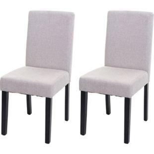 2x Esszimmerstuhl Stuhl Küchenstuhl Littau ~ Textil, creme-beige, dunkle Beine - Bild 1