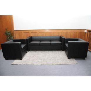 3-1-1 Couchgarnitur Lille ~ Leder, schwarz - Bild 1