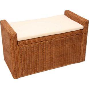 Sitzbank Genua Rattan mit Stauraum und Kissen 88cm ~ honigfarben - Bild 1