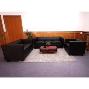 3-2-1 Couchgarnitur Lille, Kunstleder ~ schwarz - Bild 1