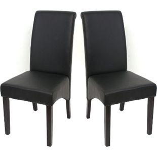 2x Esszimmerstuhl Cesena ~ Kunstleder matt, schwarz, dunkle Füße - Bild 1