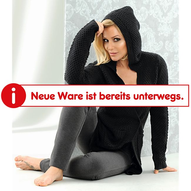 Damen Long Cardigan mit Kapuze - Schwarz, Gr. S - Bild 1