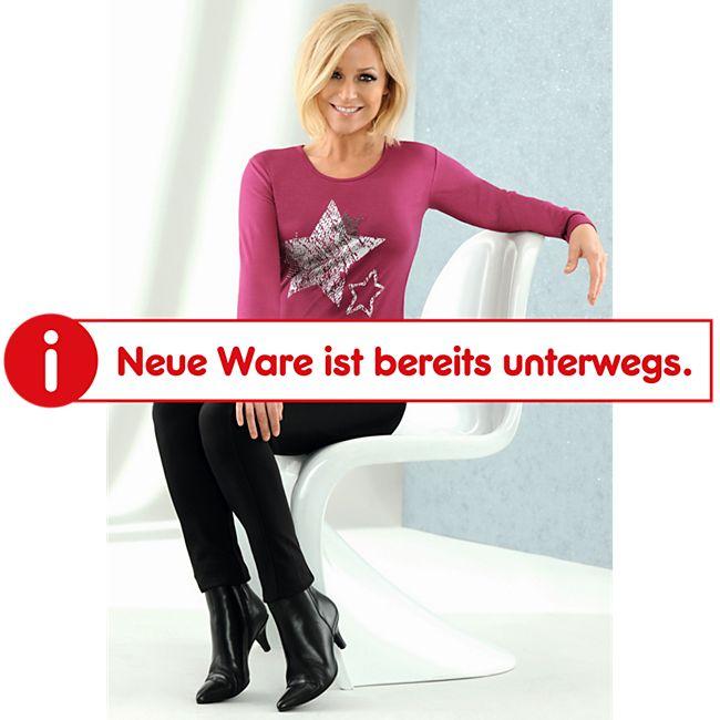 Damen langarm Shirt -mit Sternapplikation- Beere, Gr. M - Bild 1