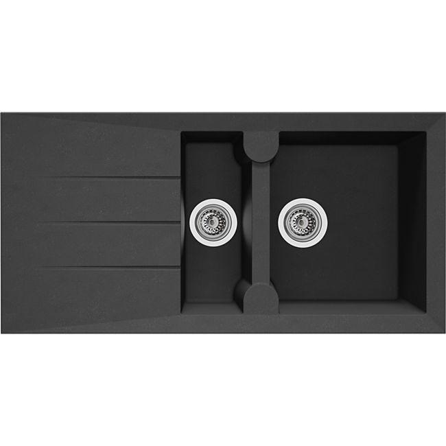 Respekta Granitverbundspüle Alineo 100x50 cm - Titanium Grau - Bild 1