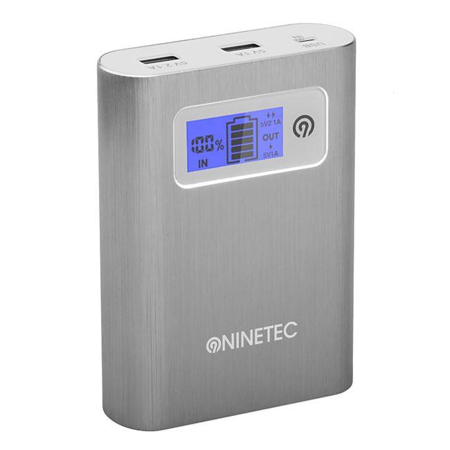 NINETEC PowerDrive 13.400 mAh Power Bank mit integriertem 64 GB USB Speicher, silber - Bild 1