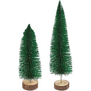 Holzbäumchen mit Glitzer, 2er Set - Grün - Bild 1