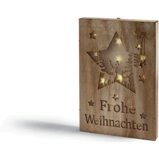 LED Holzbild - helles Holz,  Sterne mit Rehen im Wald - Bild 1