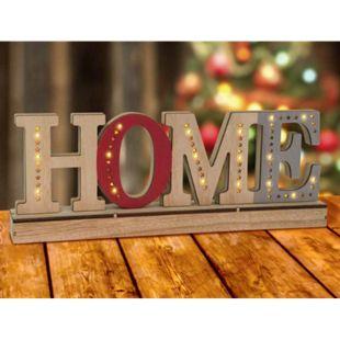 LED Schriftzug aus Holz - HOME rot - Bild 1