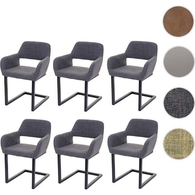 6x Esszimmerstuhl MCW A50 II, Freischwinger Stuhl Küchenstuhl, Retro 50er Jahre Design ~ Stoff, grau
