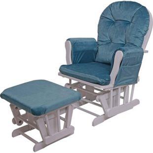 Relaxsessel MCW-C76, Schaukelstuhl Sessel Schwingstuhl mit Hocker ~ Samt, blau, Gestell weiß - Bild 1