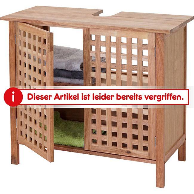 Waschbeckenunterschrank MCW-B61, Badschrank Badezimmer Unterschrank mit  Staufach, Walnuss Holz 60x67x30cm