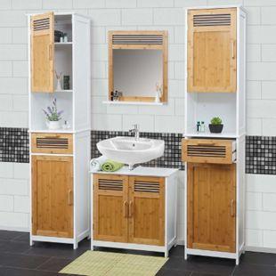 Badezimmerset MCW-A85, 2x Hochschrank Waschbeckenunterschank Spiegel Bambus, weiß - Bild 1