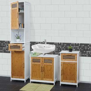 Badezimmerset MCW-A85, Hochschrank Waschbeckenunterschank Kommode Bambus, weiß - Bild 1