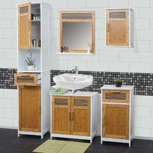 Badezimmerset MCW-A85, Komplett Badezimmer Badmöbel Badset Badschrank Bambus, weiß - Bild 1