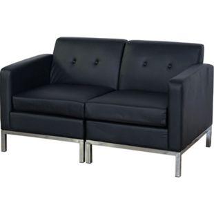 2er Sofa MCW-C19, Modular-Sofa Couch mit Armlehnen, erweiterbar Kunstleder ~ schwarz - Bild 1