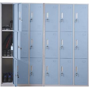 Schließfach Preston T829, Schließfachschrank Wertfachschrank Spind, Metall 9 Fächer, blau - Bild 1