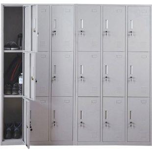 Schließfach Preston T829, Schließfachschrank Wertfachschrank Spind, Metall 9 Fächer, grau - Bild 1