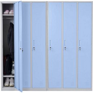 Schließfach Preston T829, Spind Wertfachschrank Schließfachschrank, Metall 6 Fächer ~ blau - Bild 1