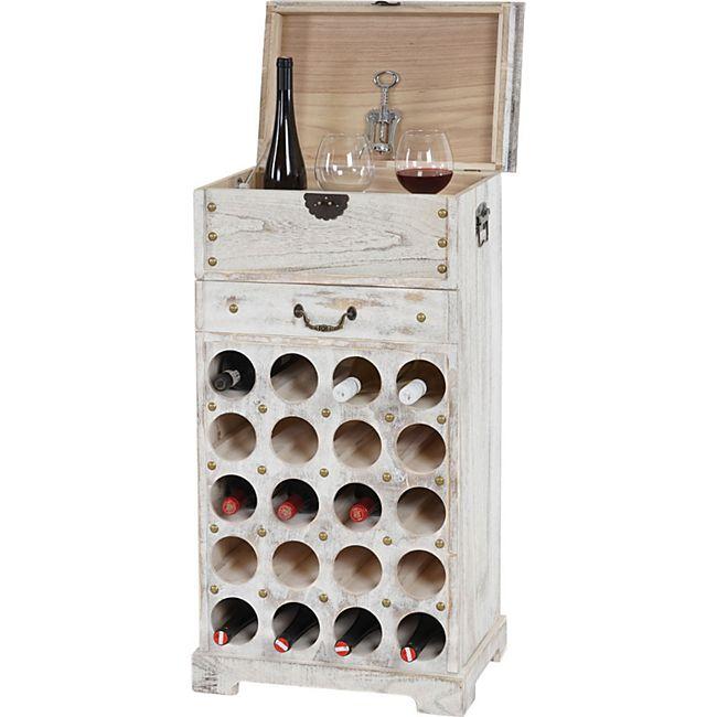 Weinregal Torre T323, Flaschenregal Regal für 20 Flaschen, 94x48x31cm, Shabby-Look, Vintage ~ weiß - Bild 1