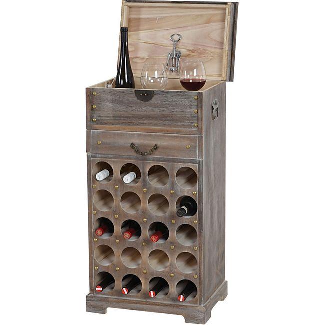 Weinregal Torre T323, Flaschenregal Regal für 20 Flaschen, 94x48x31cm, Shabby-Look, Vintage ~ braun - Bild 1