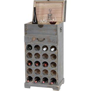 Weinregal Torre T323, Flaschenregal Regal für 20 Flaschen, 94x48x31cm, Shabby-Look, Vintage ~ grau - Bild 1