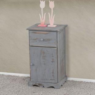 Kommode Beistelltisch Nachttisch Telefontisch, 63x35x29cm, Shabby-Look, Shabby-Chic, Vintage ~ weiß - Bild 1
