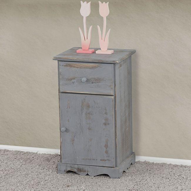 Kommode Beistelltisch Nachttisch Telefontisch, 63x35x29cm, Shabby-Look,  Shabby-Chic, Vintage ~ weiß