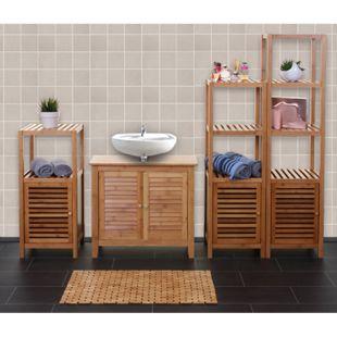 Badezimmerset MCW-B18, Komplett Badezimmer Badmöbel Badset Badschrank mit Tür, Bambus - Bild 1