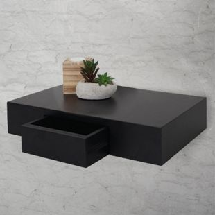 Wandregal Cher, Regal Hängeregal mit Schublade, 40cm ~ schwarz - Bild 1