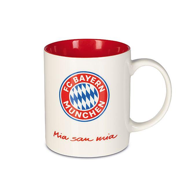 FCB Kaffeebecher Mia san Mia 350ml weiß/rot mit Logo - Bild 1