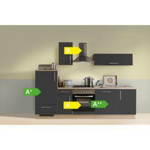 Menke Küchen Küchenzeile Premium 270 cm Lacklaminat Schiefer Matt mit Klapphänger - Bild 1