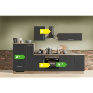 Menke Küchen Küchenzeile Premium 300 cm Lacklaminat Schiefer Matt mit Klapphänger - Bild 1