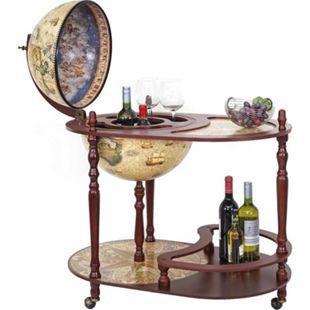 Globusbar mit Tisch MCW-D84, Minibar Hausbar Tischbar, Weltkugel Ø 42cm rollbar Eukalyptusholz - Bild 1