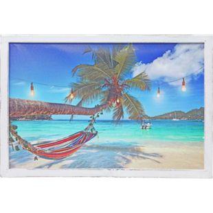 LED-Bild MCW-D37, Leinwandbild Leuchtbild Wandbild, Meer mit Rahmen Shabby-Look 40x60cm - Bild 1