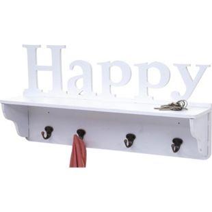 Wandgarderobe MCW-D41 Happy, Garderobe Regal, 4 Haken massiv 30x60x13cm ~ weiß - Bild 1