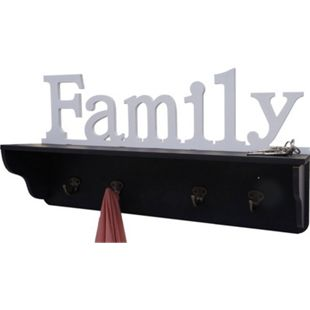 Wandgarderobe MCW-D41 Family, Garderobe Regal, 4 Haken massiv 30x60x13cm ~ schwarz/weiß - Bild 1