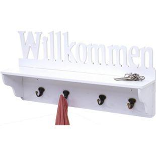 Wandgarderobe MCW-D41 Willkommen, Garderobe Regal, 4 Haken massiv 30x60x13cm ~ weiß - Bild 1