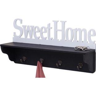 Wandgarderobe MCW-D41 Sweet Home, Garderobe Regal, 4 Haken massiv 30x60x13cm ~ schwarz/weiß - Bild 1