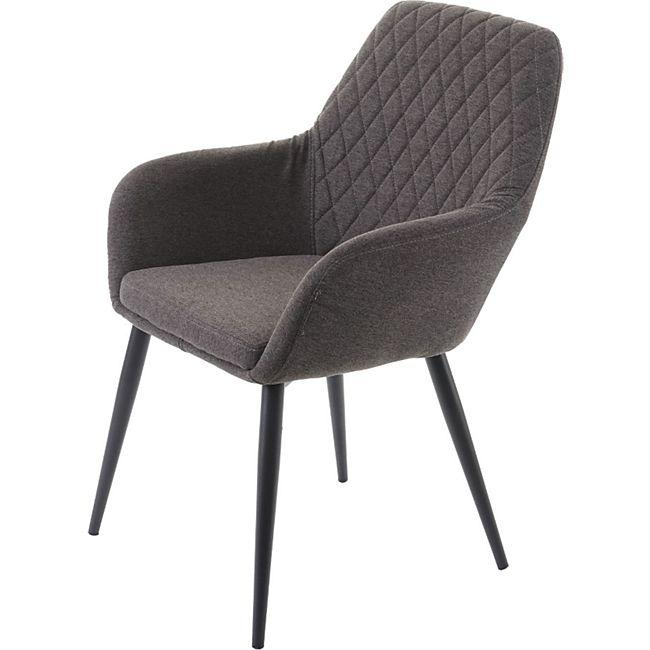 6x Esszimmerstuhl MCW-D35, Stuhl Küchenstuhl, Stoff/Textil Retro ' hellgrau