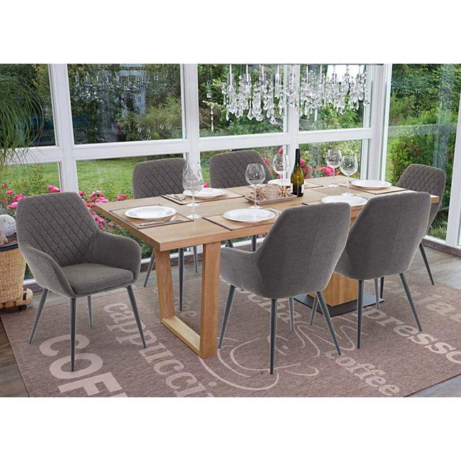 6x Esszimmerstuhl MCW-D35, Stuhl Küchenstuhl, Stoff/Textil Retro ~ dunkelgrau - Bild 1