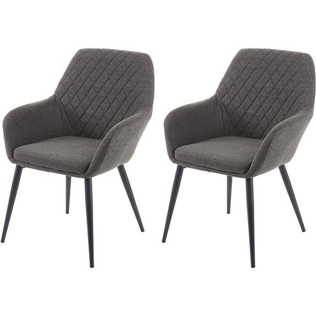 2x Esszimmerstuhl MCW-D35, Stuhl Küchenstuhl, Stoff/Textil Retro ~ dunkelgrau - Bild 1