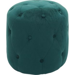 Hocker MCW-D22, Sitzhocker Ottomane, 42x39cm ~ Samt dunkelgrün - Bild 1