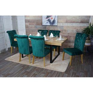 6x Esszimmerstuhl MCW-D22, Stuhl Küchenstuhl, Nieten Samt ~ dunkelgrün, goldfarbene Beine - Bild 1