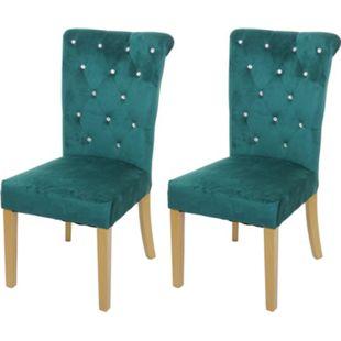 2x Esszimmerstuhl MCW-D22, Stuhl Küchenstuhl, Nieten Samt ~ dunkelgrün, goldfarbene Beine - Bild 1